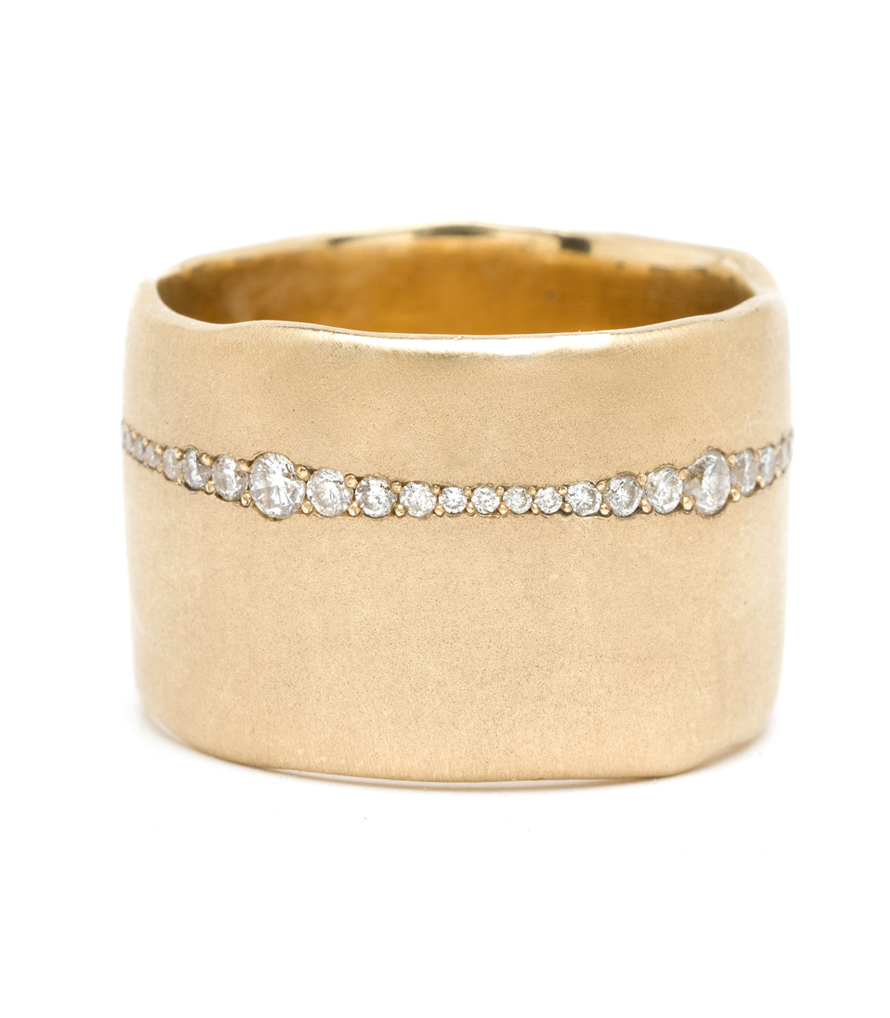 Chunky gold band with pave diamonds