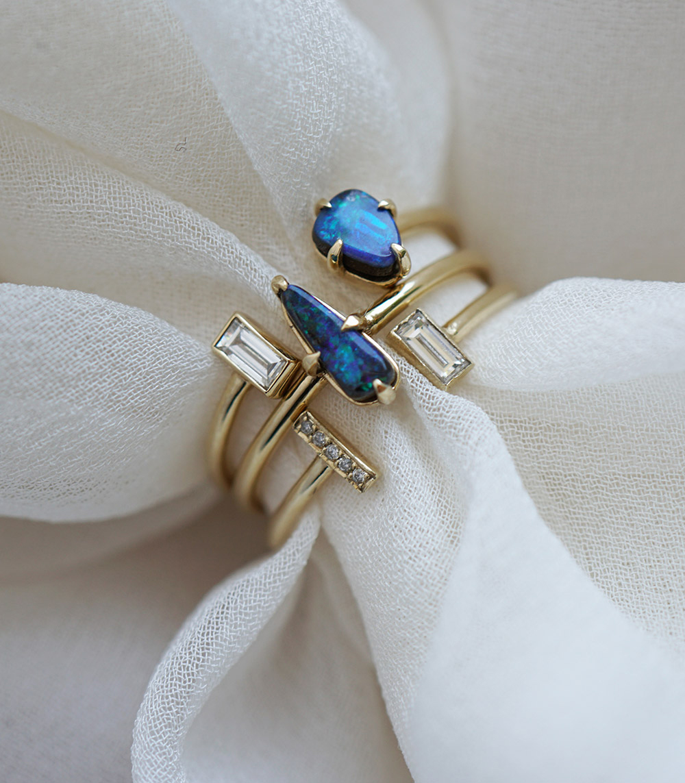 october birthstone opal ring stack