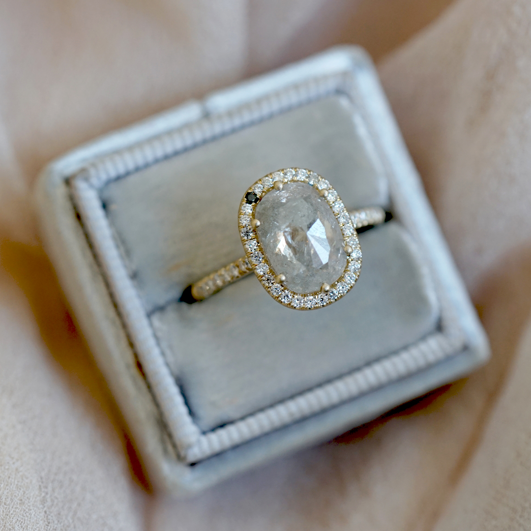halo salt and pepper diamond engagement ring
