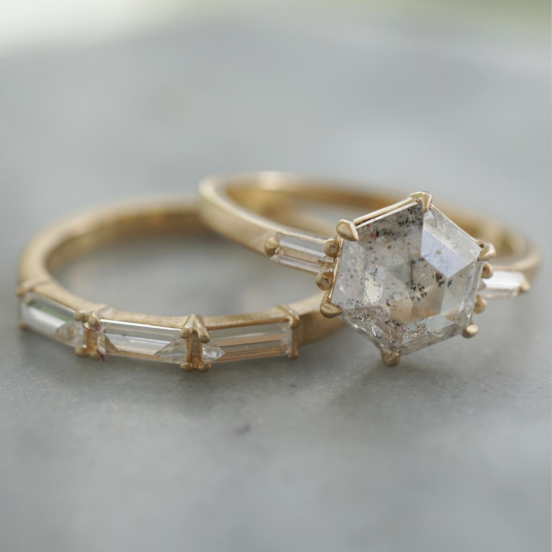 salt and pepper hexagon diamond engagement ring