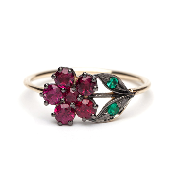 14K Gold Antique Inspired One of a Kind Flower Ruby Bohemian Engagement Ring designed by Sofia Kaman handmade in Los Angeles