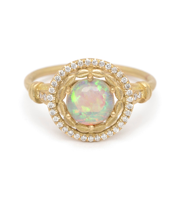 18K Matte Gold Australian Opal Diamond Halo One of a Kind Engagement Ring designed by Sofia Kaman handmade in Los Angeles