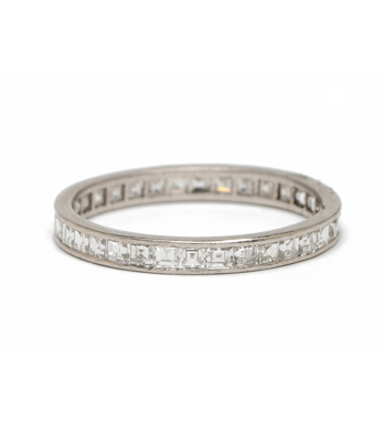 Vintage Art Deco Platinum Channel Set Asscher Cut Diamond Eternity Band curated by Sofia Kaman